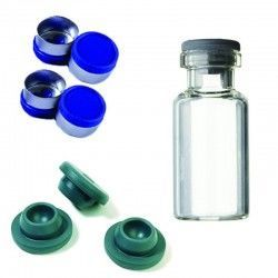 Set of 10  Vials, Stoppers & Flip Caps